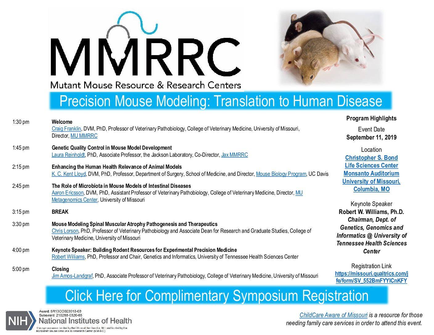 Mutant Mouse Resource & Research Centers Present > Precision Mouse Modeling: Translation to Human Disease